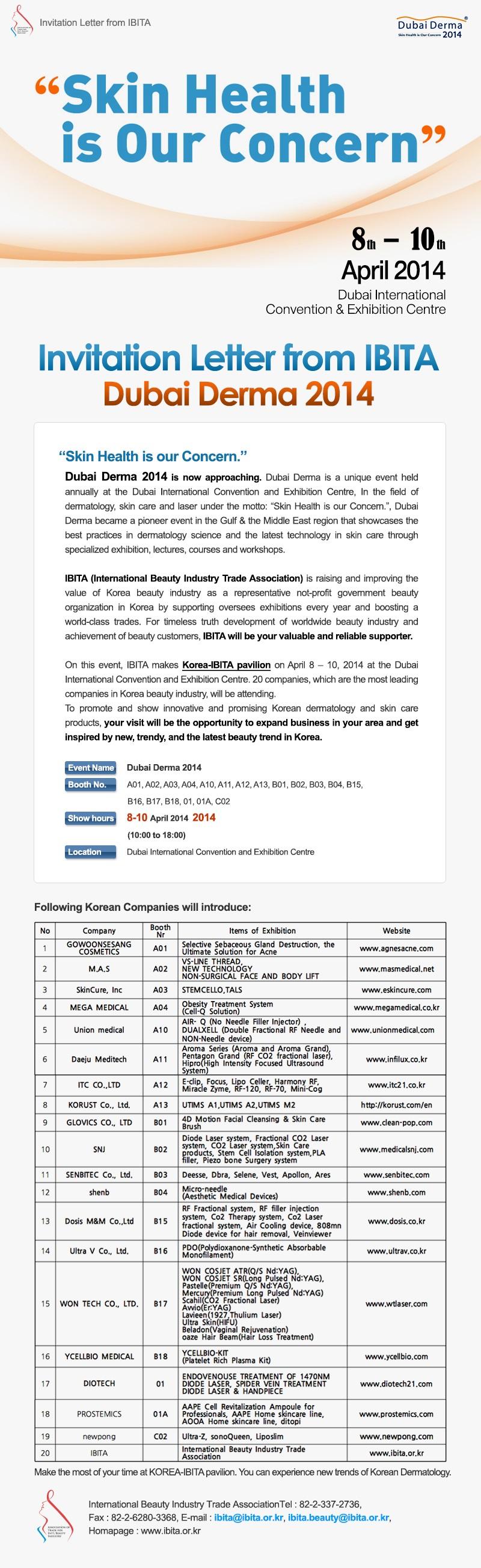 Invitation Letter from IBITA_Dubai Derma 2014
